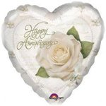 18 Happy Anniversary White Rose Mylar Balloon