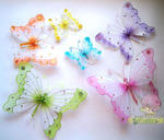 9.5 Nylon/Glitter/Gem Butterfly Decorations - Colors!