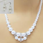 Graduated Pearl & Rhinestone Necklace Set