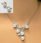 Faux Pearl Modern Design Necklace Set