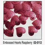 Raspberry Embossed Heart Confetti