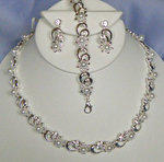 Silver Loops & Pearl Flowers 3 Piece Necklace Set