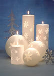 Glowing Snowflake White Ball Candles - 3 Sizes