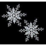 11 Glittered Snowflake Decorations - 2 Colors!