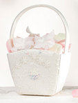 Ivory Sequin Lace Flower Basket