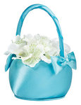 Aqua Satin Flower Basket