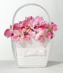 White Pleated Flower Basket