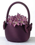 Plum Satin Flower Basket