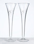 10 Silver Heart Scroll Toasting Flutes