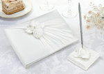 Cream Rose Guest Book with Pen Set