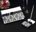 Black Damask Guest Book with Pen Set