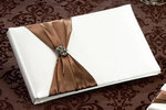 Brown Jeweled Cream Guest Book