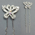 White Butterfly & Rhinestone Hair Pin