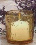 Fall Leaves Amber Glass Votive Cup