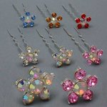 Five Petal Rhinestone Flower Hair Pin - Colors!