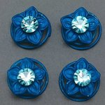 Blue Flower & Rhinestone Hair Spirals - Pkg 4