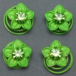 Green Flower & Rhinestone Hair Spirals - Pkg 4