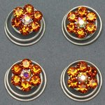 Orange / Amber Rhinestone Hair Spirals - Pkg 4