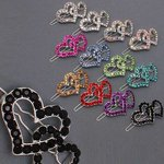 Double Heart Rhinestone Barrette - Colors!