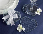 Good Wishes Glass Heart Coasters