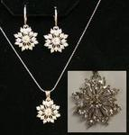 Austrian Crystal Snowflake Necklace & Earring Set