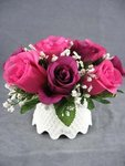 Burgundy and Pink Rose Bouquet Wedding Cake Topper