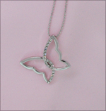 Entwined Butterfly Silver Rhinestone Necklace