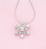 Cubic Zirconia 3D Snowflake Necklace