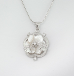 Mother of Pearl Rhinestone Flower & Butterfly Necklace