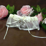 Ivory Satin & Organza Garter with Hanging Hearts
