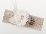 Taupe/Ivory Vintage Lace Wide Garter
