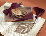Turning Leaves Bookmark with Burgundy Silk Tassel