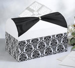 Black Damask White Card Box