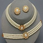 Ivory Triple Strand Pearl 3 Piece Set