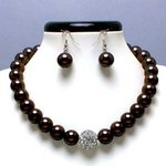 Dark Brown Glass Pearl Tiffany Ball Necklace Set