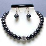 Pewter Glass Pearl Tiffany Ball Necklace Set