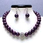 Purple Glass Pearl Tiffany Ball Necklace Set