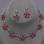 7 Flower Design Rhodium Necklace Set - 6 Colors!