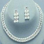 Waves of White Rhinestone & Pearl Necklace Set