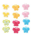 Fabric Puffy Butterfly Stickers - Pkg 12