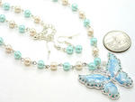 Blues Pearl Butterfly Necklace & Earring Set