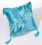 Aqua Satin Ring Pillow