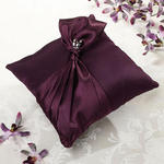Plum Satin Ring Pillow