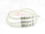 Faith Hope Love Silver Stretch Bracelet
