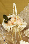Gold Floral Embroidered Flower Girl Basket