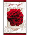 Snowflakes & Red Roses Blank Wedding Programs - Pkg 100