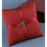 With All My Heart Ring Pillow - Claret Red