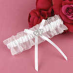 With All My Heart Bridal Garter - White