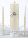 Vintage Cream Lace Pillar and Two Tapers