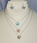 Austrian Crystal Mini Butterfly Necklace Set - Colors!